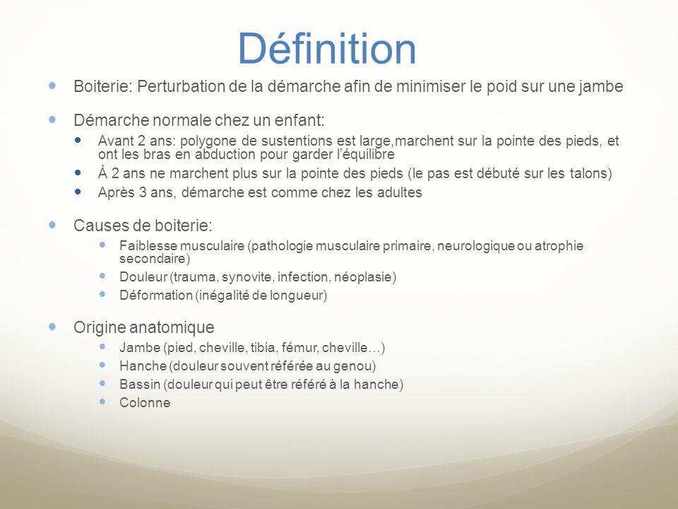 DDx: Selon lâge et selon la présence de douleur Pathologies douloureusePathologies non douloureuse Enfants de 1 à 3 ans - Arthrite septique/ostéomyélite -synovite transitoire -diskite intervertébrale -Arthrite juvénile idiopathique -néoplasie (leucémie, métas) -abus physique - Dysplasie de la hanche -maladie neuromusculaire (palsie cérébrale) -inégalité longueur des membres inférieurs Enfants de 4 à 10 ans -Arthrite septique/ostéomyélite -synovite transitoire -trauma -Maladie de Legg-Calvé-Perthes (phase aigue) -discite intervertebrale -Arthrite Juvénile Idiopathique -Crise danémie falciforme Néoplasie (leucémie, tumeur osseuse, métas) -Maladie de Legg-Calvé-Perthés (phase chronique) -Dysplasie de la hanche -Maladie neuromusculaire (palsie cérébrale, dystrophie musculaire) Enfants de plus de 11 ans - Trauma -Arthrite septique/Ostéomyélite -Glissement épiphysaire fémoral -Osgood-Schlatter -Arthrite Juvénile Idiopathique -Crise danémie falciforme -Néoplasie (leucémie, tumeur osseuse, métas) -Glissement épiphysaire fémoral -Inégalité longueur membres inférieurs -maladie neuromusculaire -scoliose