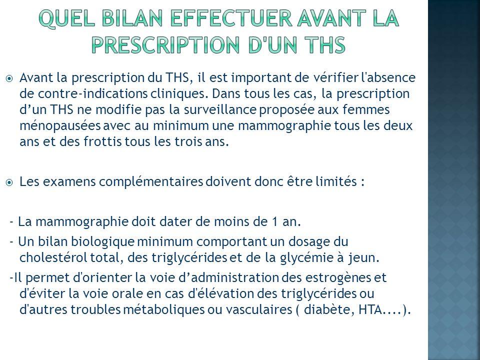Avant la prescription du THS, il est important de vérifier l'absence de contre-indications cliniques. Dans tous les cas, la prescription dun THS ne mo