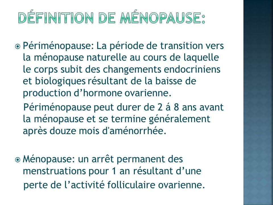 Périménopause: La période de transition vers la ménopause naturelle au cours de laquelle le corps subit des changements endocriniens et biologiques ré