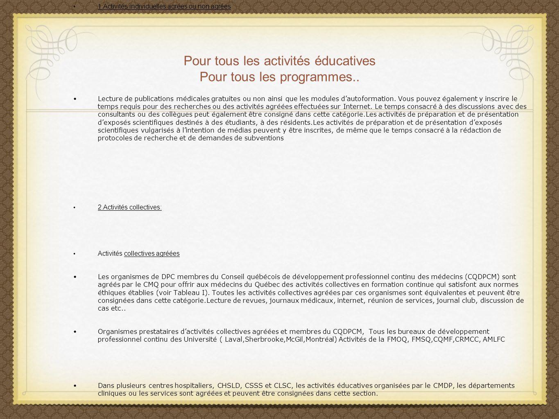 Pour tous les activités éducatives Pour tous les programmes.. 1.Activités individuelles agrées ou non agrées Lecture de publications médicales gratuit