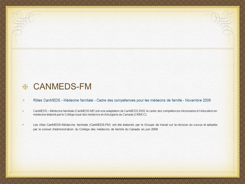 CANMEDS-FM Rôles CanMEDS - Médecine familiale - Cadre des compétences pour les médecins de famille - Novembre 2009 CanMEDS – Médecine familiale (CanME