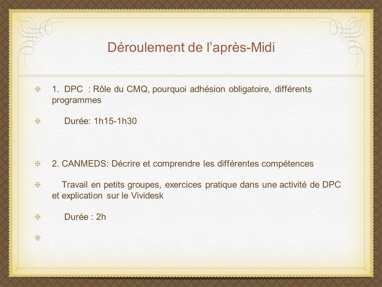Déroulement de laprès-Midi 1. DPC : Rôle du CMQ, pourquoi adhésion obligatoire, différents programmes Durée: 1h15-1h30 2. CANMEDS: Décrire et comprend
