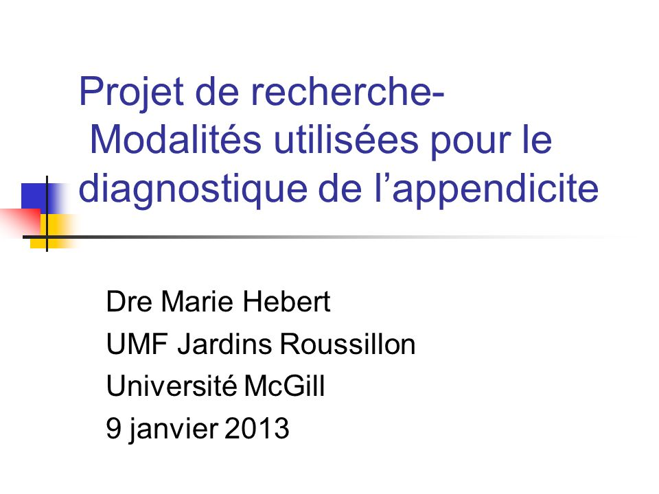 Appendicite Incidence : 86 par 100 000 personnes