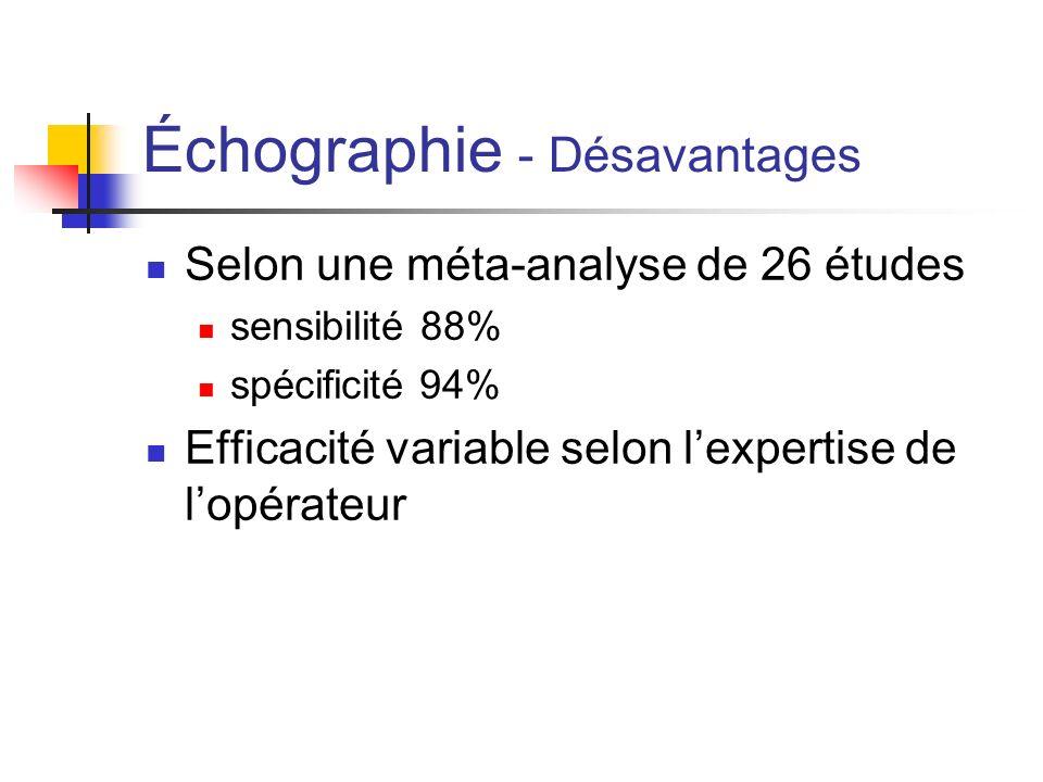 2 études 631 enfants (écho --> tomo avec contraste IV) sensibilité 99% spécificité 91% Taux dappendicite négative 8% Taux dappendicite manquée 0,5 % Tomo évitée dans 53 % des patients