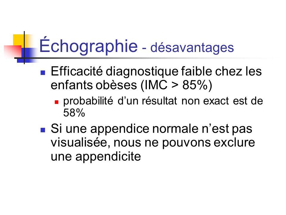 Échographie - Désavantages Douleur et anxiété lors de léchographie accessibilité difficile à une personne compétente à faire des échos chez les enfants 24h sur 24.
