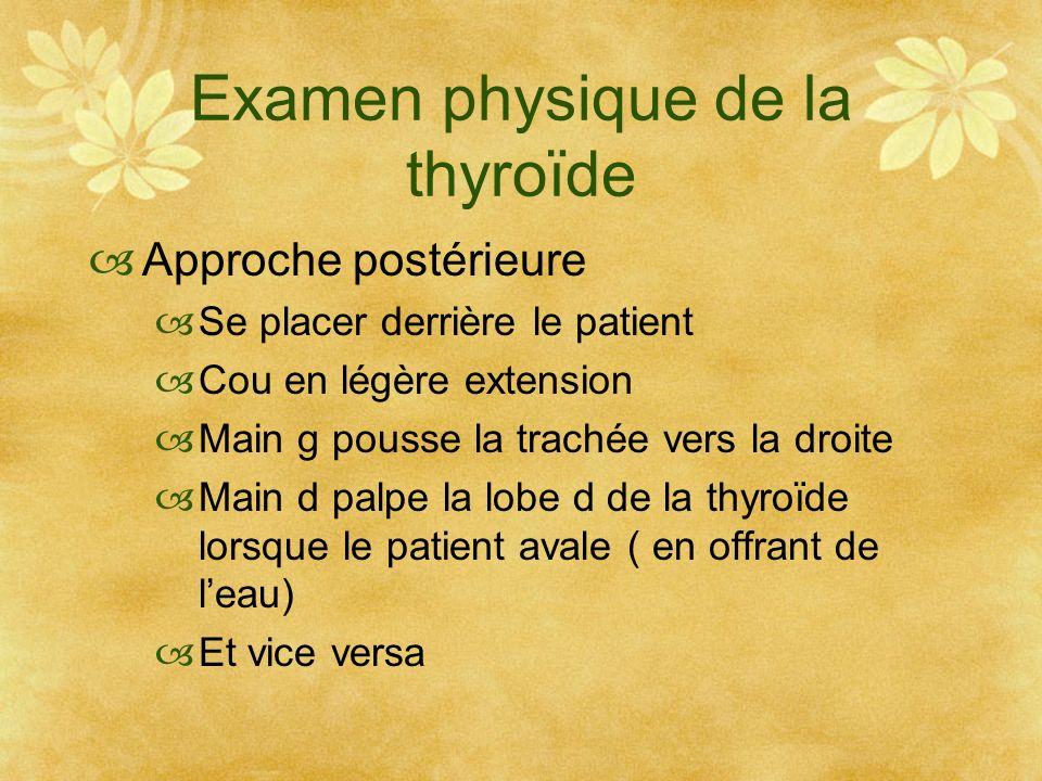 Examen physique de la thyroïde Approche postérieure Se placer derrière le patient Cou en légère extension Main g pousse la trachée vers la droite Main