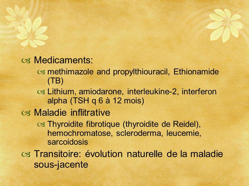 Medicaments: methimazole and propylthiouracil, Ethionamide (TB) Lithium, amiodarone, interleukine-2, interferon alpha (TSH q 6 à 12 mois) Maladie infl