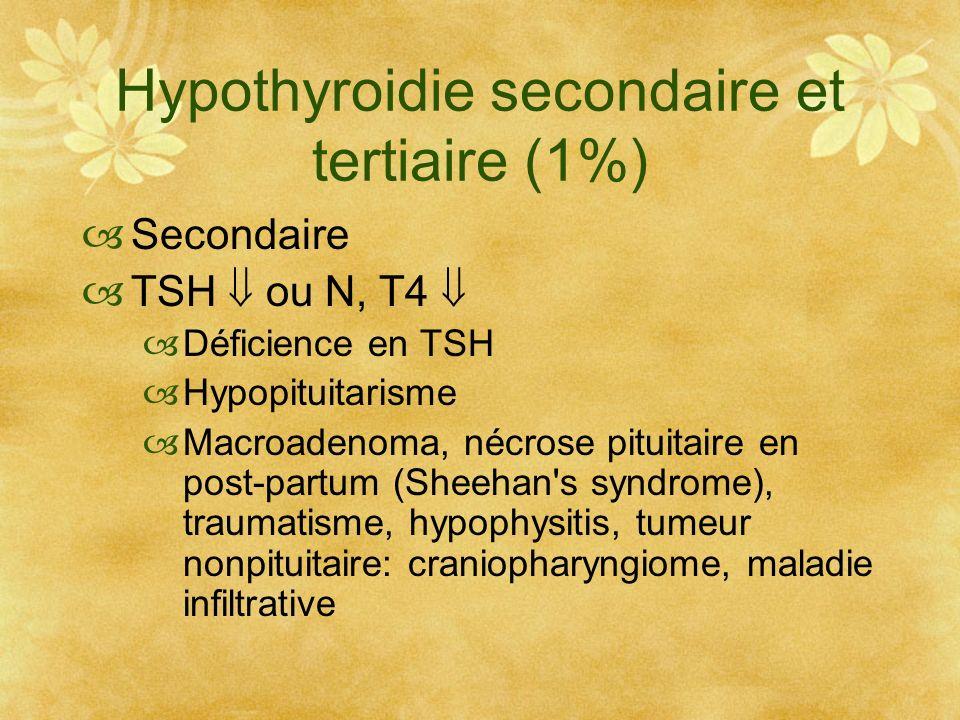 Hypothyroidie secondaire et tertiaire (1%) Secondaire TSH ou N, T4 Déficience en TSH Hypopituitarisme Macroadenoma, nécrose pituitaire en post-partum