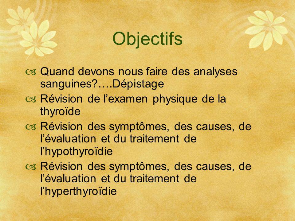 Objectifs Quand devons nous faire des analyses sanguines?….Dépistage Révision de lexamen physique de la thyroïde Révision des symptômes, des causes, d