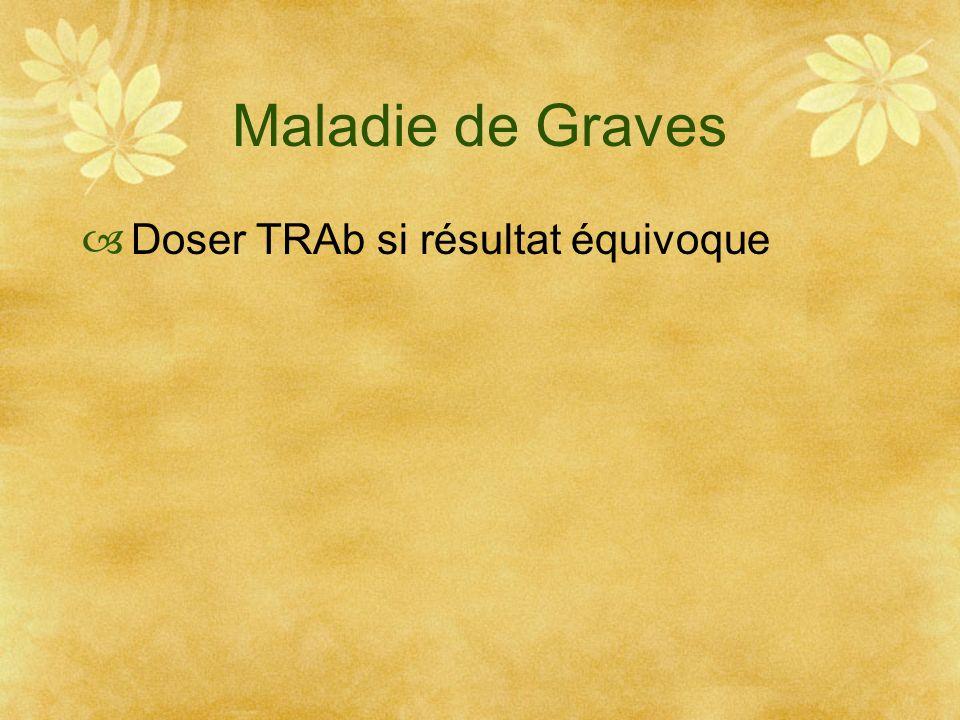 Maladie de Graves Doser TRAb si résultat équivoque