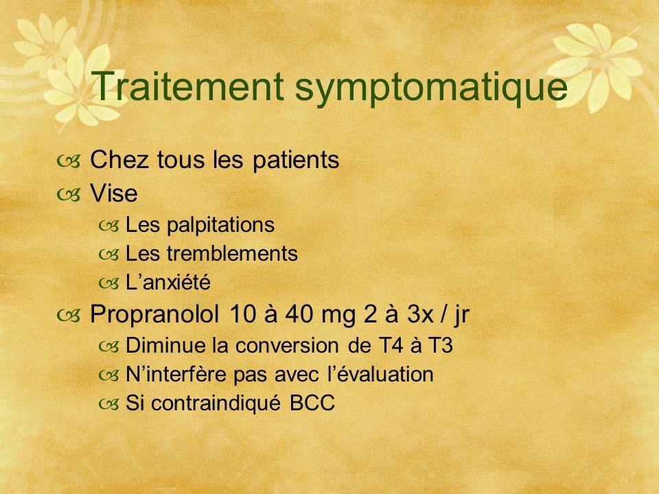 Traitement symptomatique Chez tous les patients Vise Les palpitations Les tremblements Lanxiété Propranolol 10 à 40 mg 2 à 3x / jr Diminue la conversi