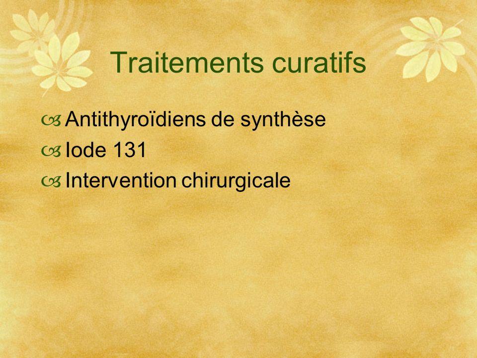 Traitements curatifs Antithyroïdiens de synthèse Iode 131 Intervention chirurgicale