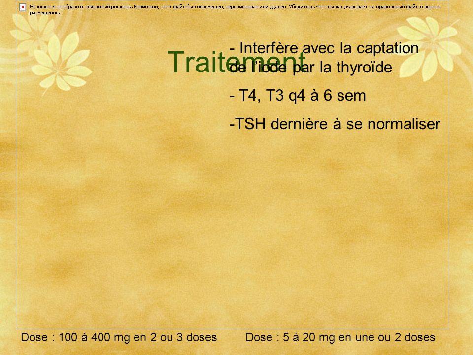 Traitement - Interfère avec la captation de liode par la thyroïde - T4, T3 q4 à 6 sem -TSH dernière à se normaliser Dose : 100 à 400 mg en 2 ou 3 dose