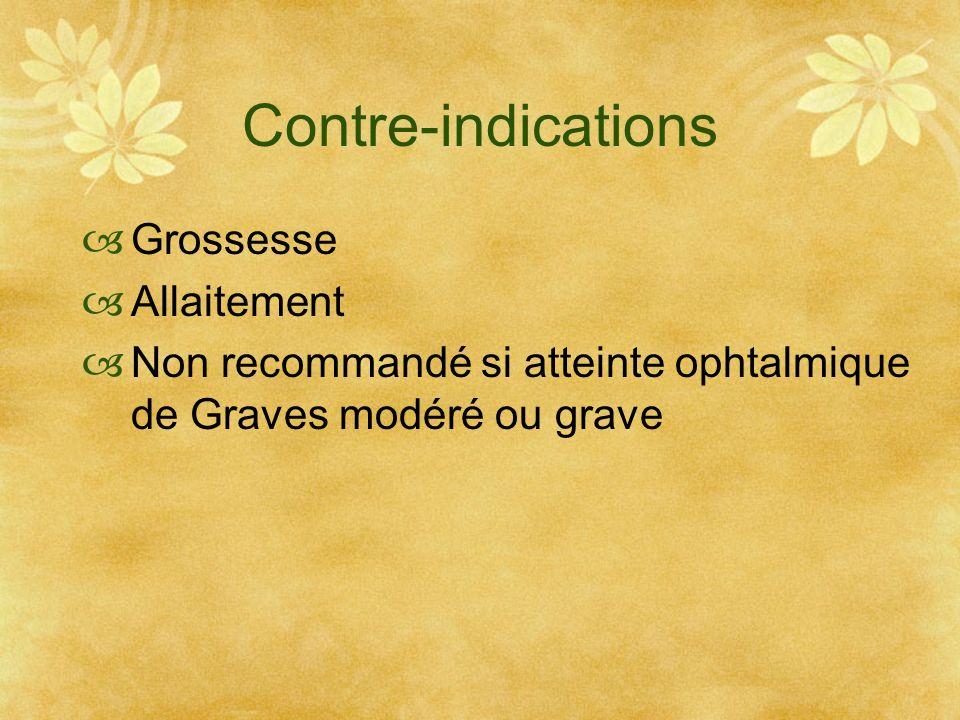 Contre-indications Grossesse Allaitement Non recommandé si atteinte ophtalmique de Graves modéré ou grave