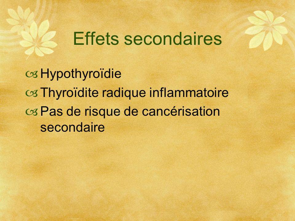 Effets secondaires Hypothyroïdie Thyroïdite radique inflammatoire Pas de risque de cancérisation secondaire