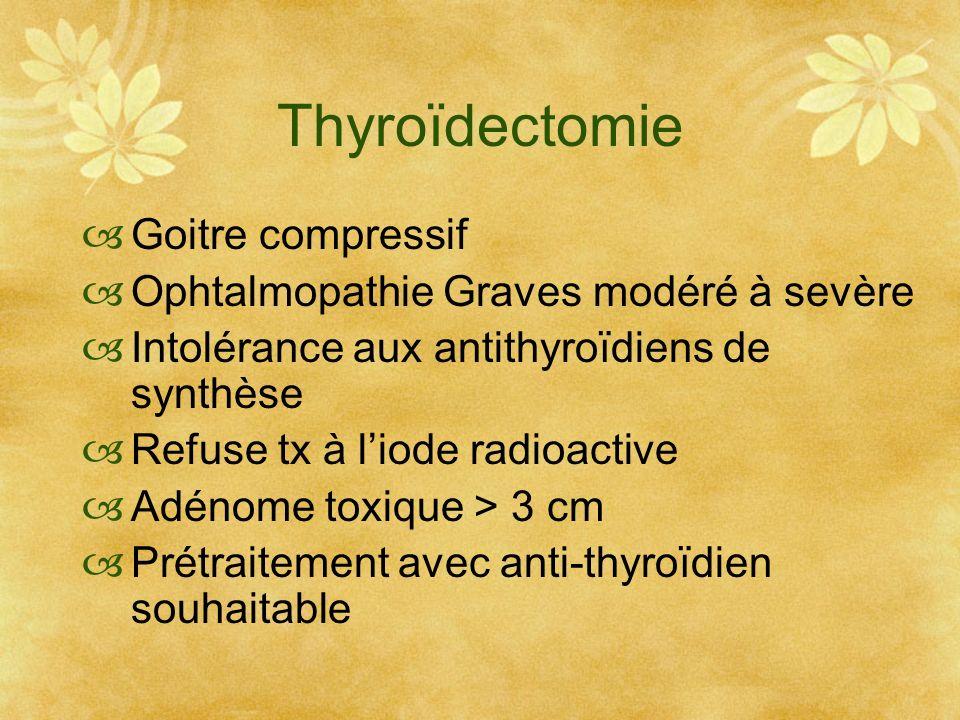 Thyroïdectomie Goitre compressif Ophtalmopathie Graves modéré à sevère Intolérance aux antithyroïdiens de synthèse Refuse tx à liode radioactive Adéno