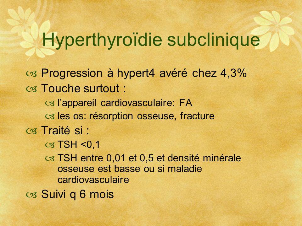 Hyperthyroïdie subclinique Progression à hypert4 avéré chez 4,3% Touche surtout : lappareil cardiovasculaire: FA les os: résorption osseuse, fracture