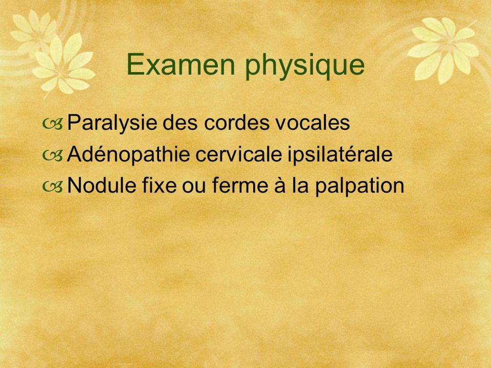 Examen physique Paralysie des cordes vocales Adénopathie cervicale ipsilatérale Nodule fixe ou ferme à la palpation