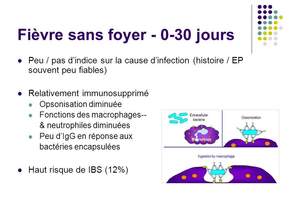 Fièvre sans foyer - 0-30 jours Peu / pas dindice sur la cause dinfection (histoire / EP souvent peu fiables) Relativement immunosupprimé Opsonisation