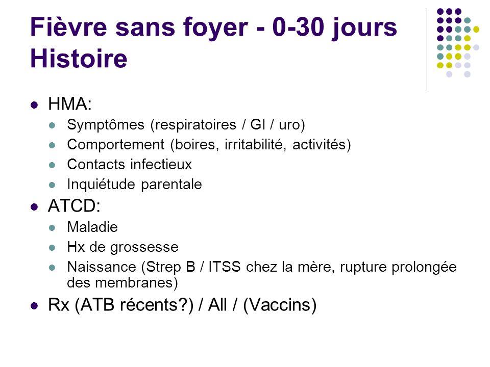 Fièvre sans foyer - 0-30 jours Histoire HMA: Symptômes (respiratoires / GI / uro) Comportement (boires, irritabilité, activités) Contacts infectieux I