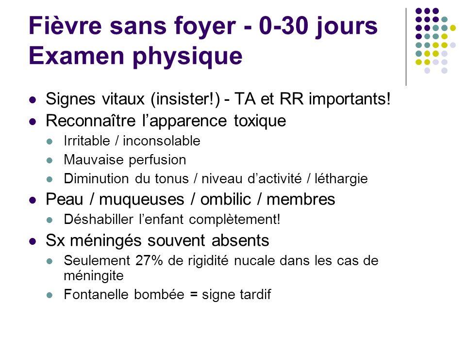 Fièvre sans foyer - 0-30 jours Examen physique Signes vitaux (insister!) - TA et RR importants! Reconnaître lapparence toxique Irritable / inconsolabl