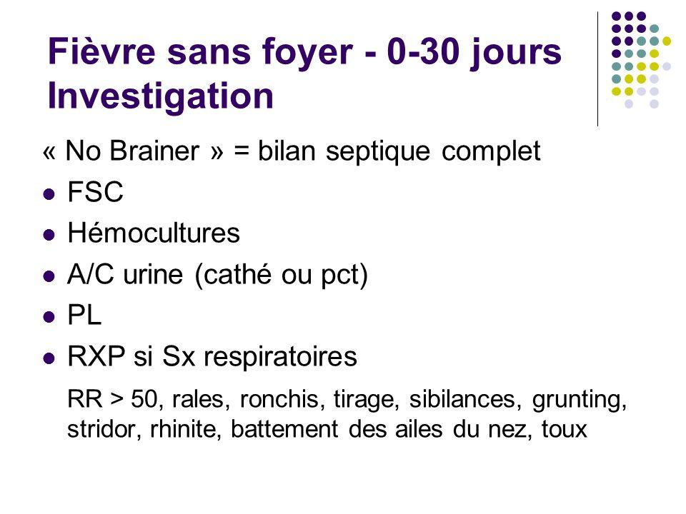 Fièvre sans foyer - 0-30 jours Investigation « No Brainer » = bilan septique complet FSC Hémocultures A/C urine (cathé ou pct) PL RXP si Sx respiratoi