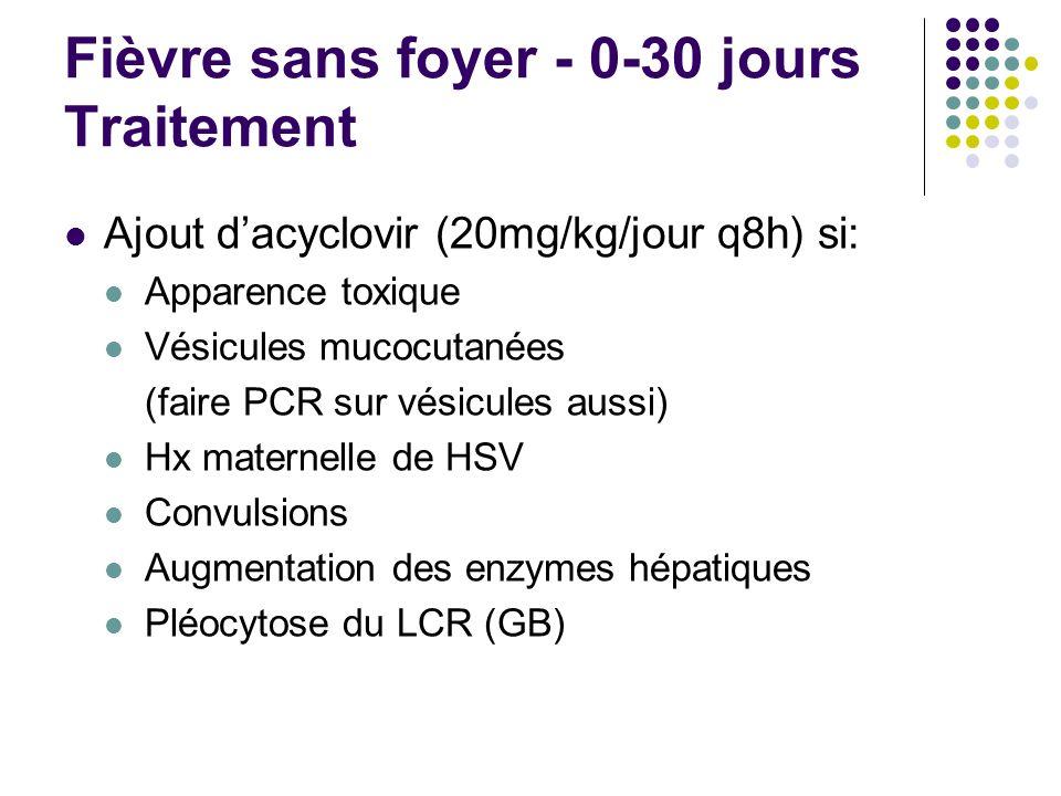 Fièvre sans foyer - 0-30 jours Traitement Ajout dacyclovir (20mg/kg/jour q8h) si: Apparence toxique Vésicules mucocutanées (faire PCR sur vésicules au