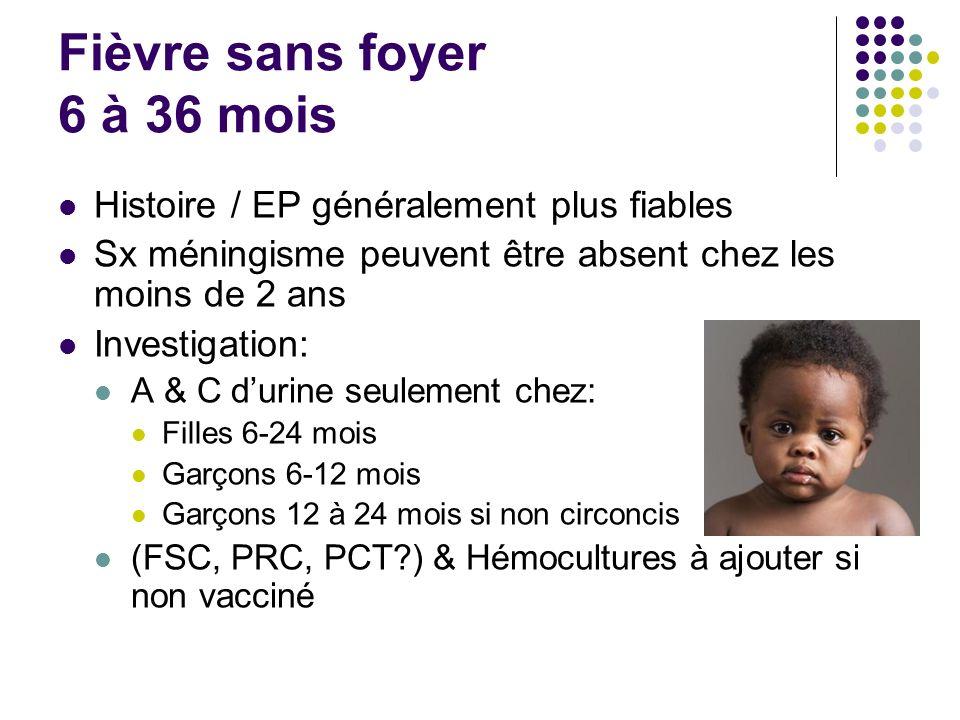 Fièvre sans foyer 6 à 36 mois Histoire / EP généralement plus fiables Sx méningisme peuvent être absent chez les moins de 2 ans Investigation: A & C d