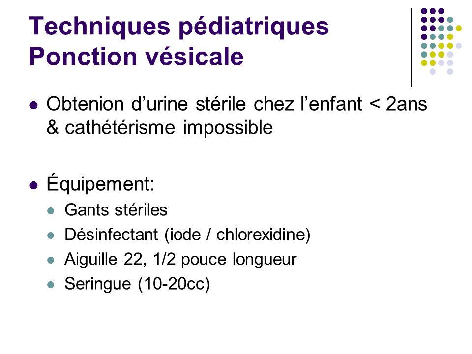 Obtenion durine stérile chez lenfant < 2ans & cathétérisme impossible Équipement: Gants stériles Désinfectant (iode / chlorexidine) Aiguille 22, 1/2 p