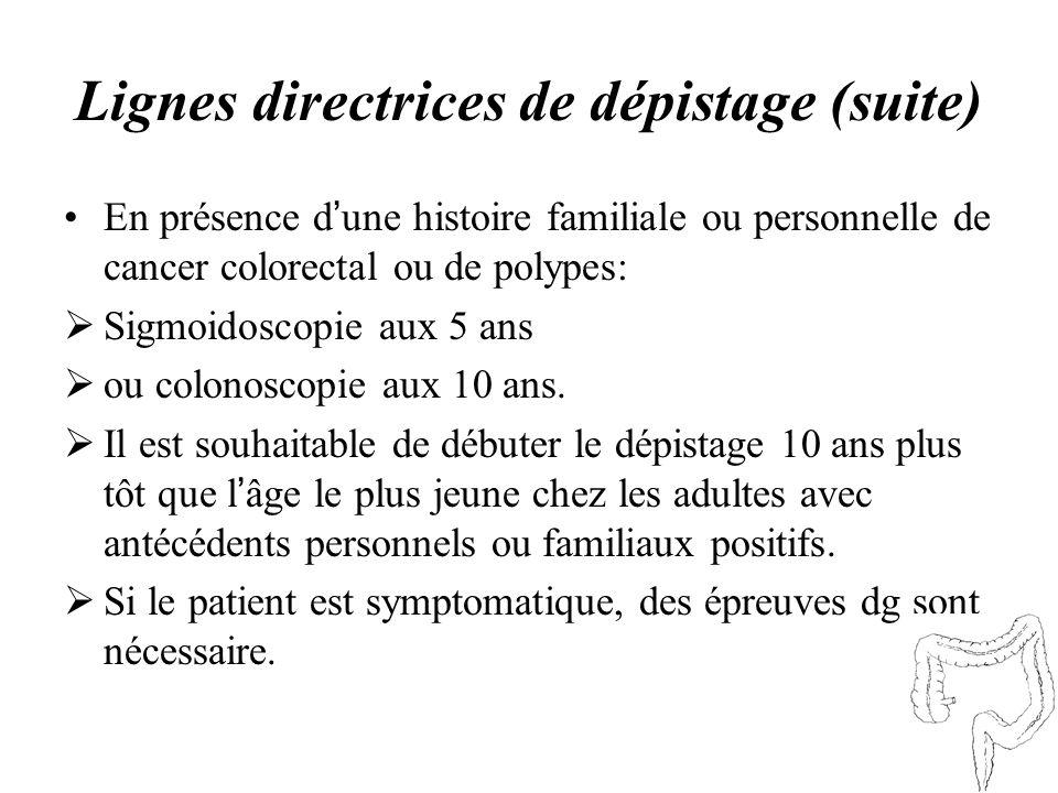 Lignes directrices de dépistage (suite) En présence d une histoire familiale ou personnelle de cancer colorectal ou de polypes: Sigmoidoscopie aux 5 a