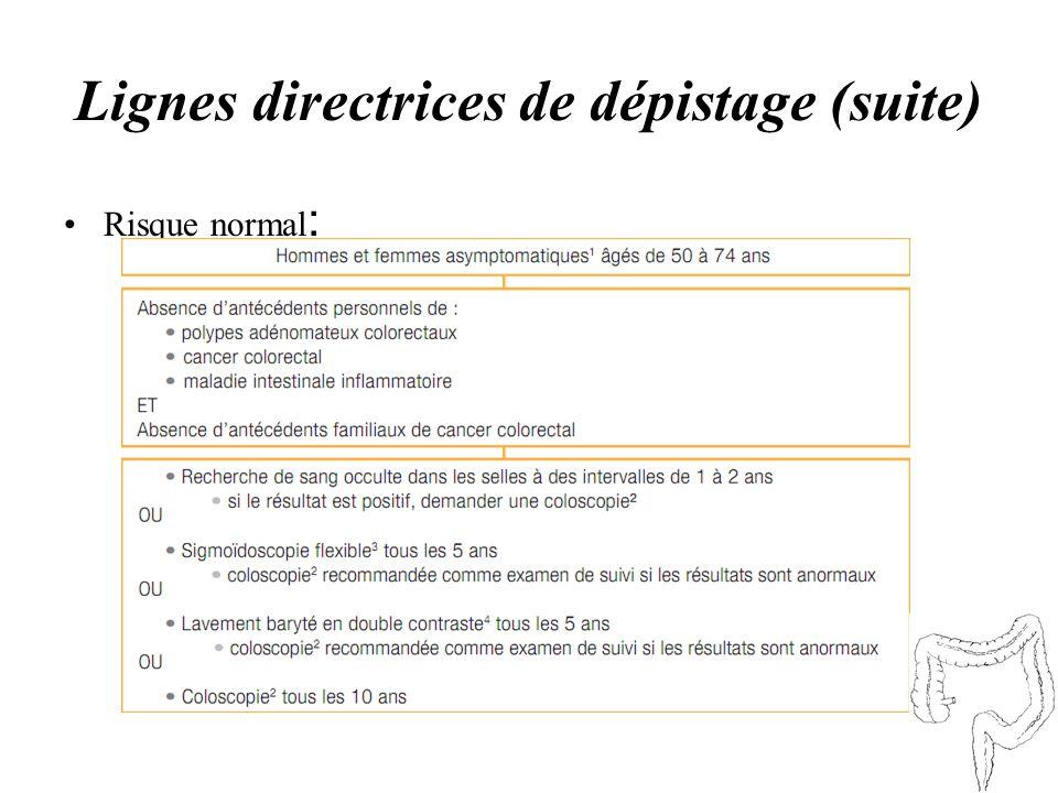 Lignes directrices de dépistage (suite) Risque normal :
