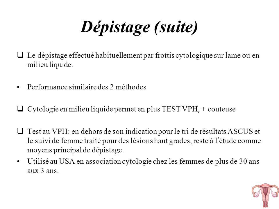 Dépistage (suite) Le dépistage effectué habituellement par frottis cytologique sur lame ou en milieu liquide. Performance similaire des 2 méthodes Cyt