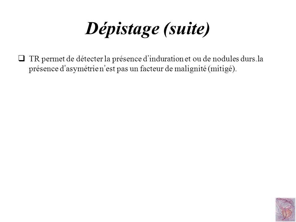 Dépistage (suite) TR permet de détecter la présence d induration et ou de nodules durs.la présence d asymétrie n est pas un facteur de malignité (miti