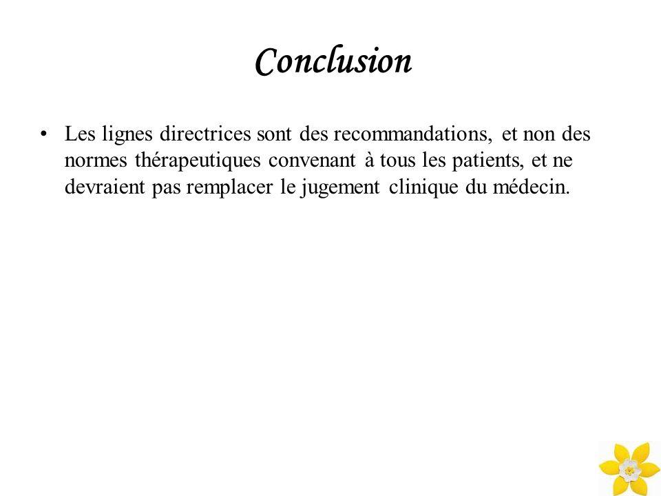 Conclusion Les lignes directrices sont des recommandations, et non des normes thérapeutiques convenant à tous les patients, et ne devraient pas rempla