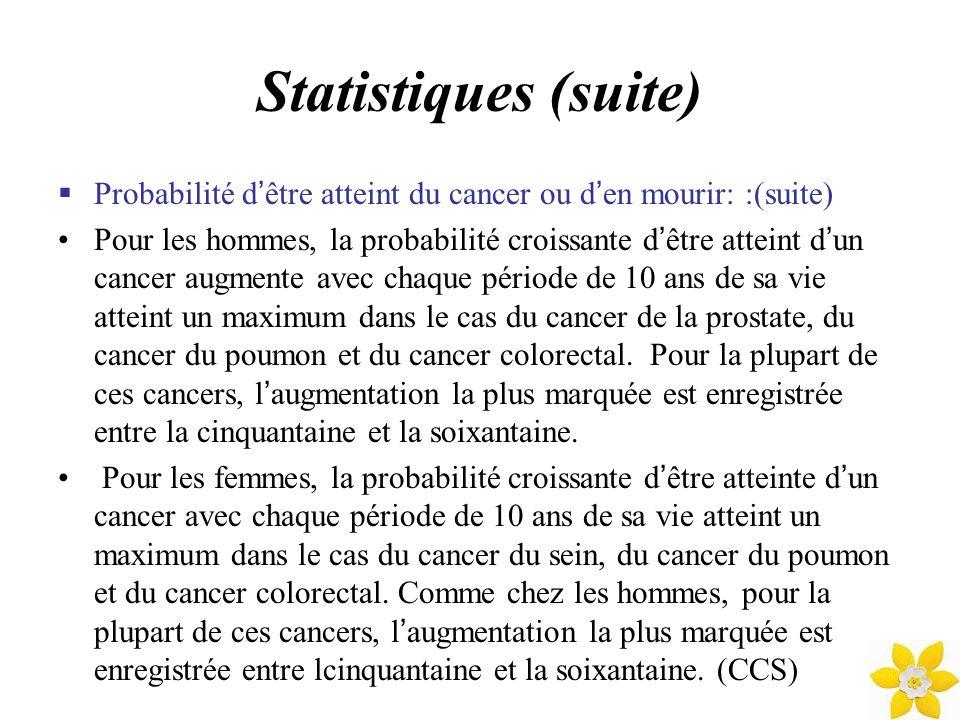 Statistiques (suite) Les détérminants de survie: Chez une personne atteinte du cancer, le pronostic peut être influencé par plusieurs facteurs : Les facteurs liés à la personne atteinte comme l âge, le sexe, les maladies concomitantes, la situation socio-économique et les habitudes de vie.