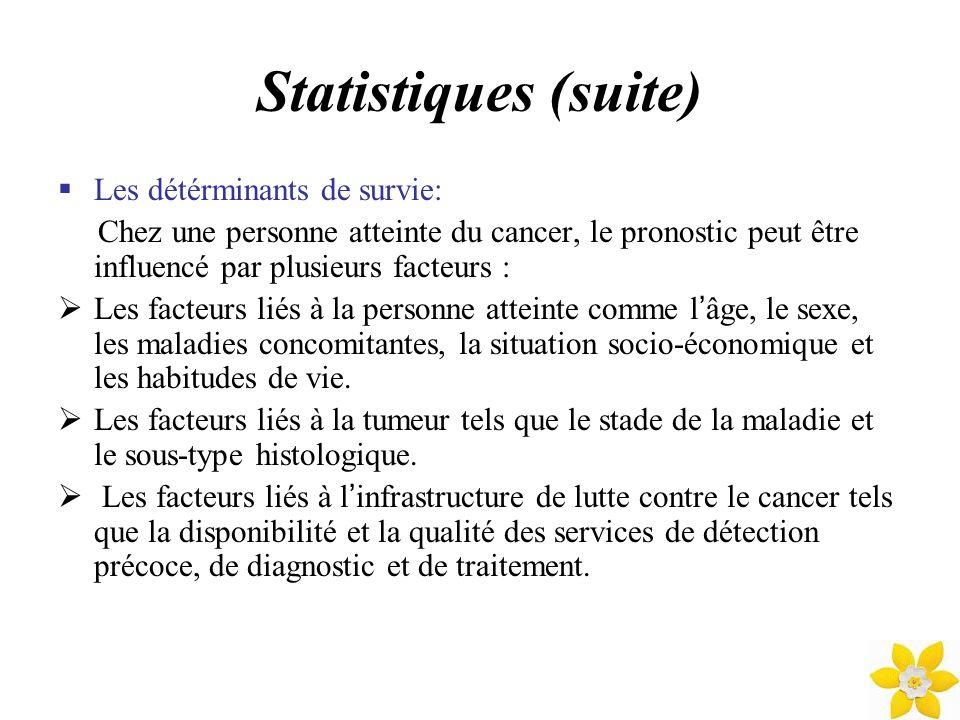 Statistiques (suite) Les détérminants de survie: Chez une personne atteinte du cancer, le pronostic peut être influencé par plusieurs facteurs : Les f