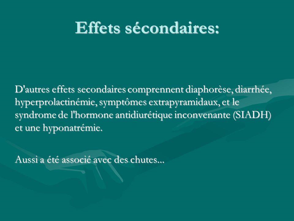Effets sécondaires: D'autres effets secondaires comprennent diaphorèse, diarrhée, hyperprolactinémie, symptômes extrapyramidaux, et le syndrome de l'h