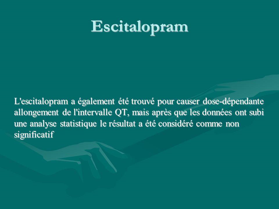 Escitalopram L'escitalopram a également été trouvé pour causer dose-dépendante allongement de l'intervalle QT, mais après que les données ont subi une