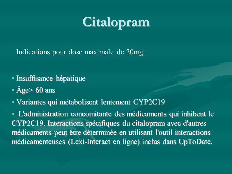 Citalopram Insuffisance hépatique Insuffisance hépatique Âge> 60 ans Âge> 60 ans Variantes qui métabolisent lentement CYP2C19 Variantes qui métabolise