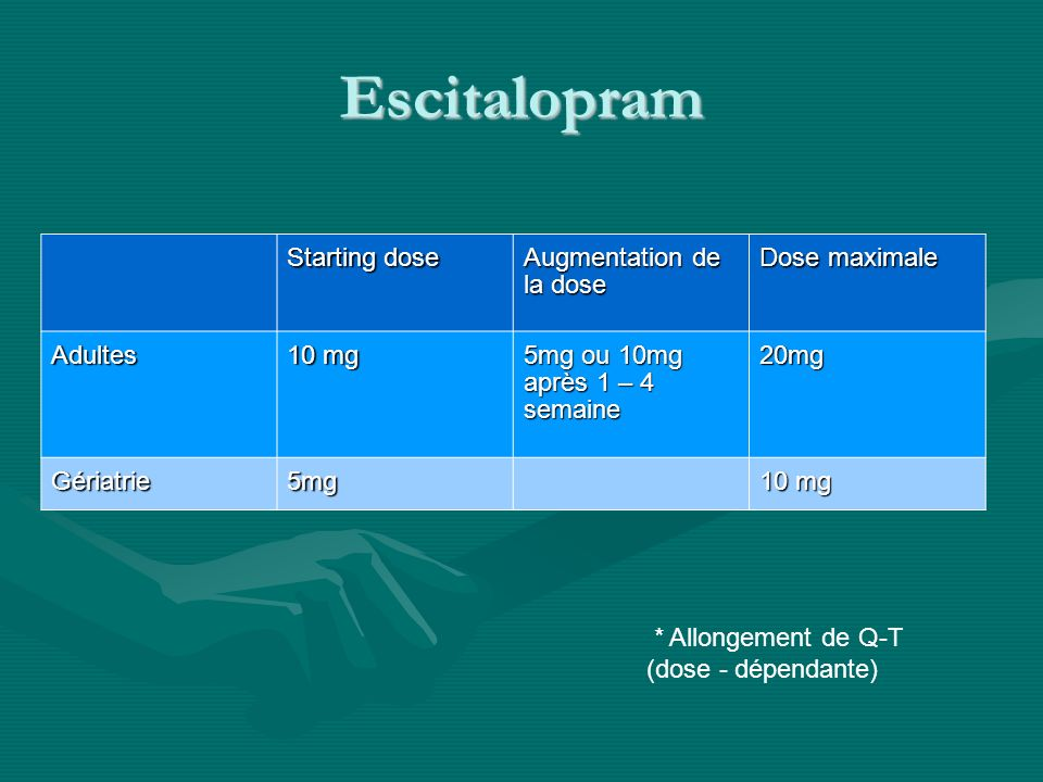 Fluoxetine Starting dose Augmentation Dose maximale Adultes 20 mg 10 – 20 mg q4semaines 40 mg (80 mg) Gériatrie 10 mg .