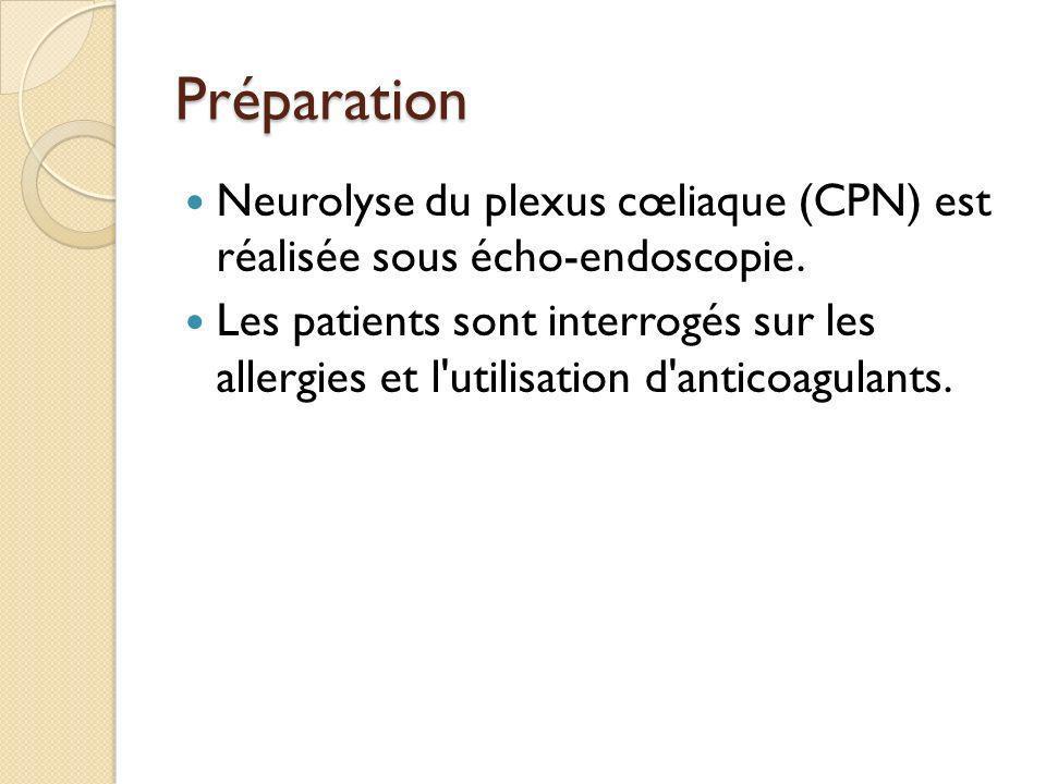 Préparation Neurolyse du plexus cœliaque (CPN) est réalisée sous écho-endoscopie. Les patients sont interrogés sur les allergies et l'utilisation d'an