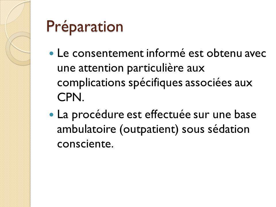 Préparation Le consentement informé est obtenu avec une attention particulière aux complications spécifiques associées aux CPN. La procédure est effec
