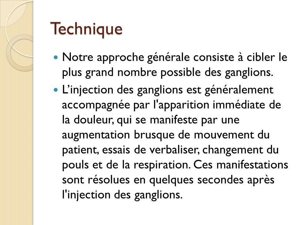 Technique Notre approche générale consiste à cibler le plus grand nombre possible des ganglions. Linjection des ganglions est généralement accompagnée