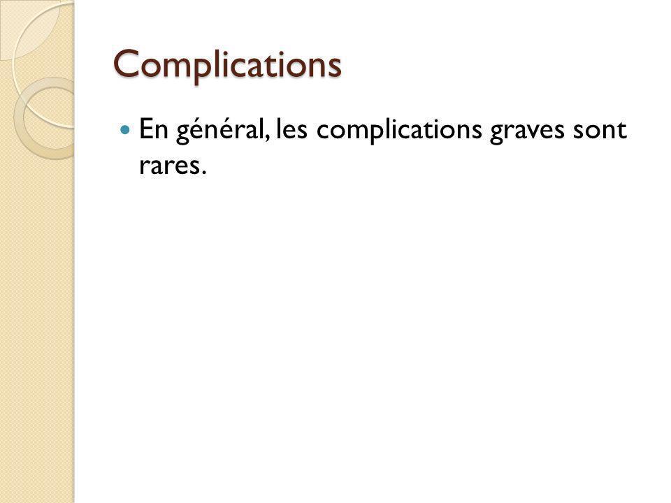 Complications En général, les complications graves sont rares.