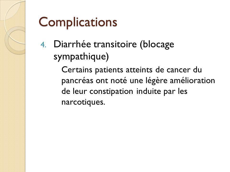 Complications 4. Diarrhée transitoire (blocage sympathique) Certains patients atteints de cancer du pancréas ont noté une légère amélioration de leur