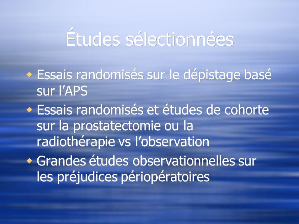 Études sélectionnées Essais randomisés sur le dépistage basé sur lAPS Essais randomisés et études de cohorte sur la prostatectomie ou la radiothérapie