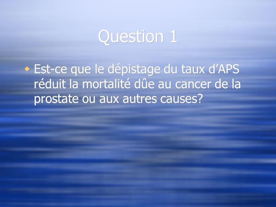 Question 1 Est-ce que le dépistage du taux dAPS réduit la mortalité dûe au cancer de la prostate ou aux autres causes?