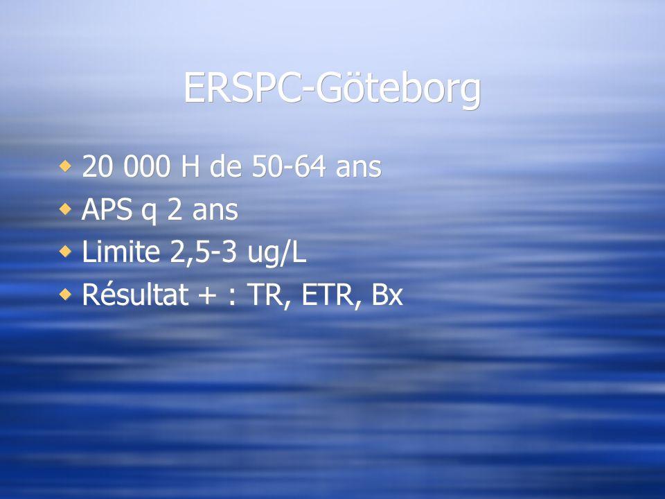 ERSPC-Göteborg 20 000 H de 50-64 ans APS q 2 ans Limite 2,5-3 ug/L Résultat + : TR, ETR, Bx 20 000 H de 50-64 ans APS q 2 ans Limite 2,5-3 ug/L Résult