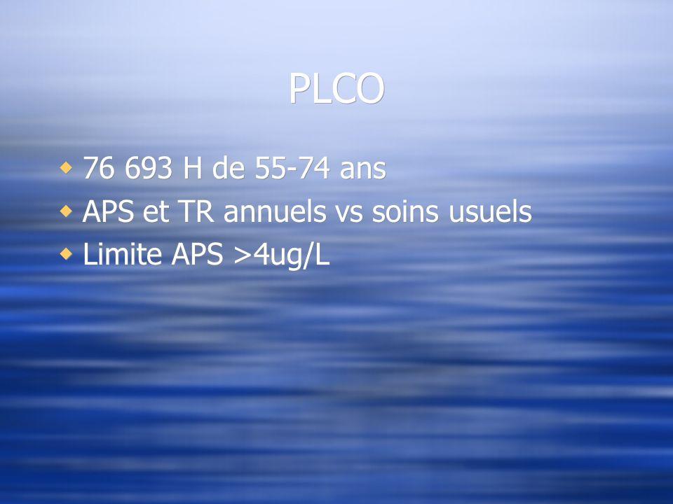 PLCO 76 693 H de 55-74 ans APS et TR annuels vs soins usuels Limite APS >4ug/L 76 693 H de 55-74 ans APS et TR annuels vs soins usuels Limite APS >4ug