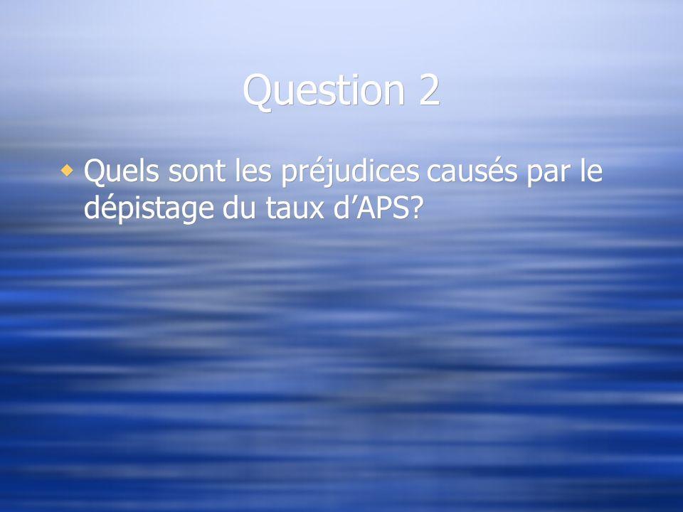Question 2 Quels sont les préjudices causés par le dépistage du taux dAPS?